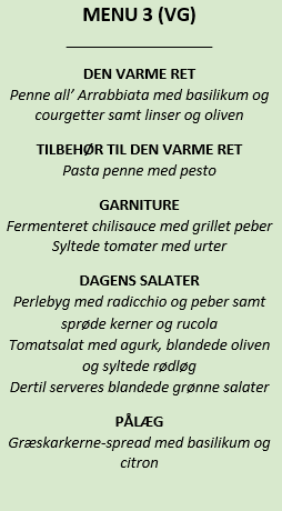 Menu 3 frokostordning eksempel.grøn